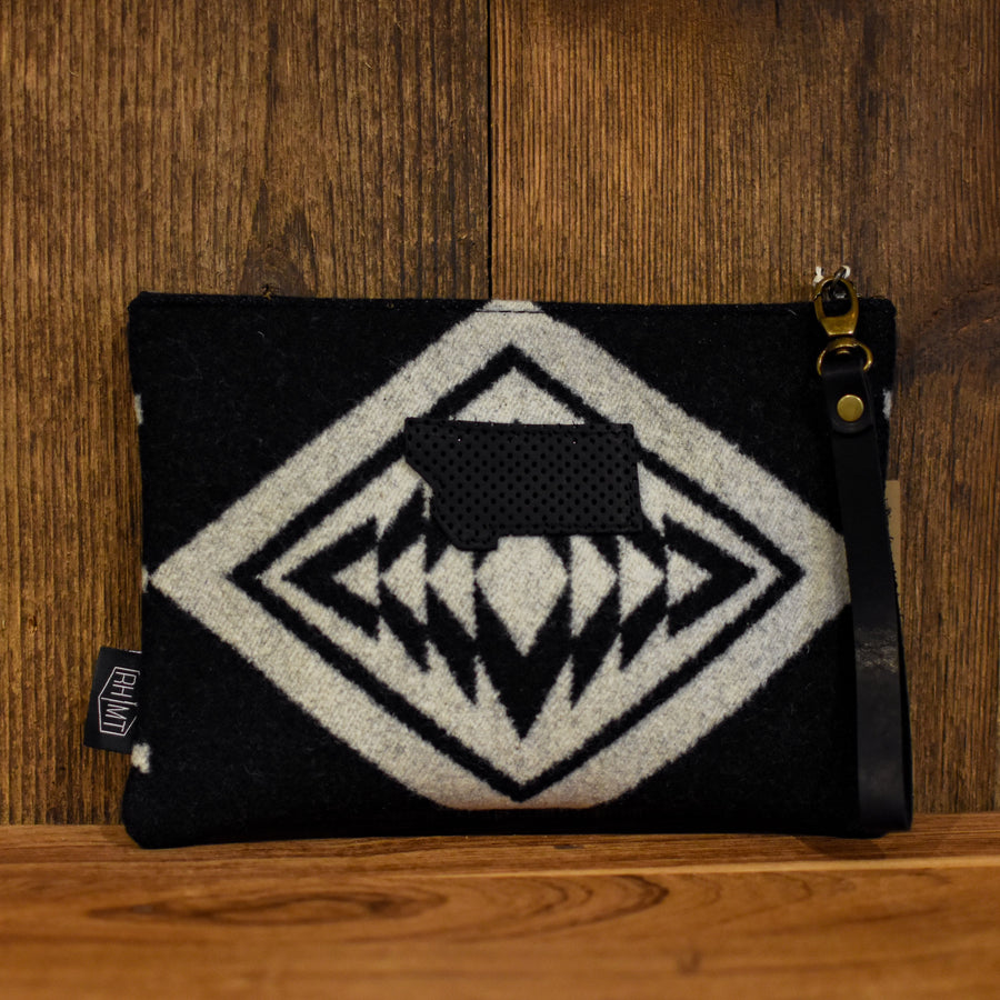 Walking Rock Pendleton Wool with Black Perforated Leather Medium Clutch