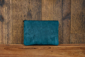 Emerald Suede Medium Clutch