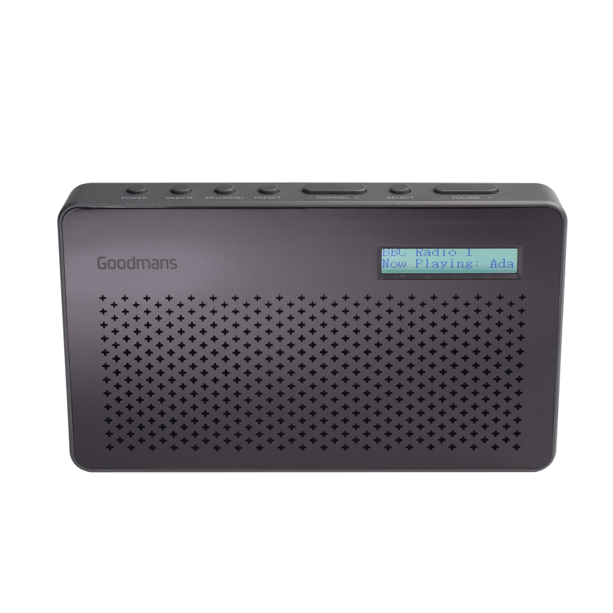 Goodmans Canvas, Portable DAB Digital & FM RDS Radio, Battery Operated - Grey GMR1886DAB transparent background