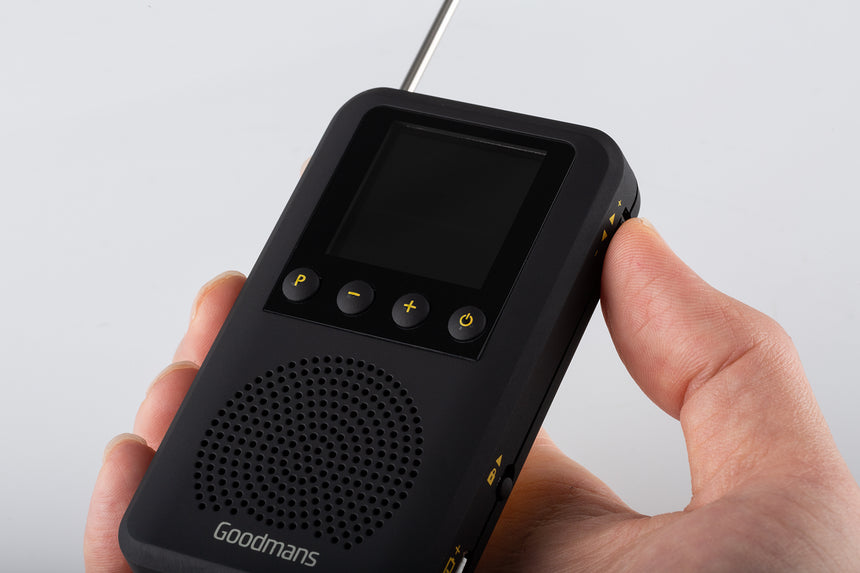 Goodmans Pocket DAB, Portable Digital Radio, Built-in Speaker, Rechargeable GDPRDAB transparent background