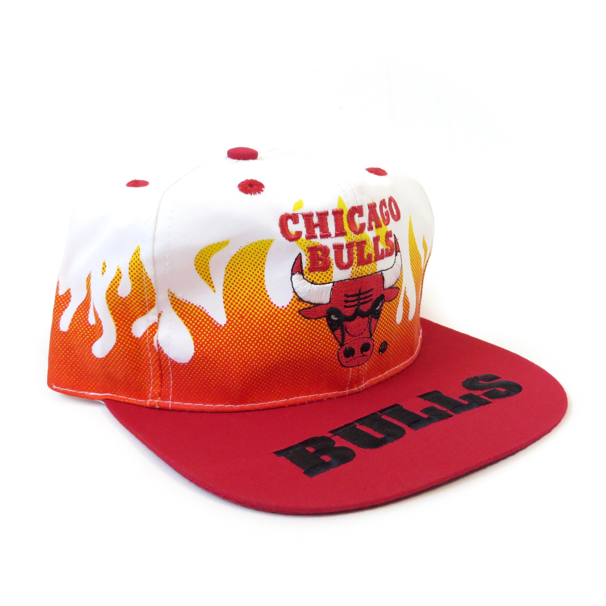 Vintage Chicago Bulls On Fire Snapback Hat