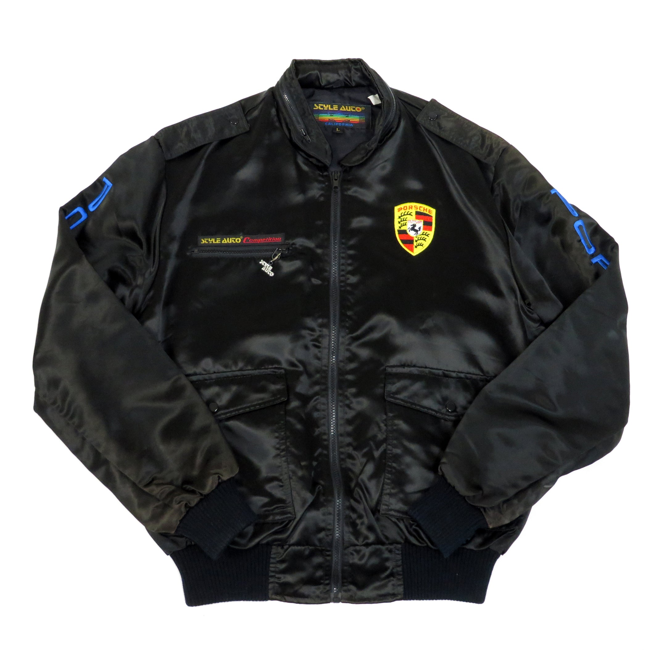 Vintage Porsche Racing Satin Jacket Sz L