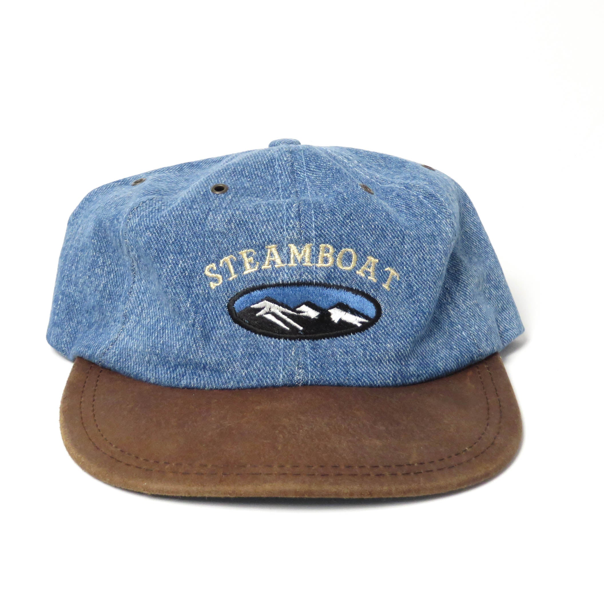 Vintage Steamboat Springs Denim/Leather Strapback Hat