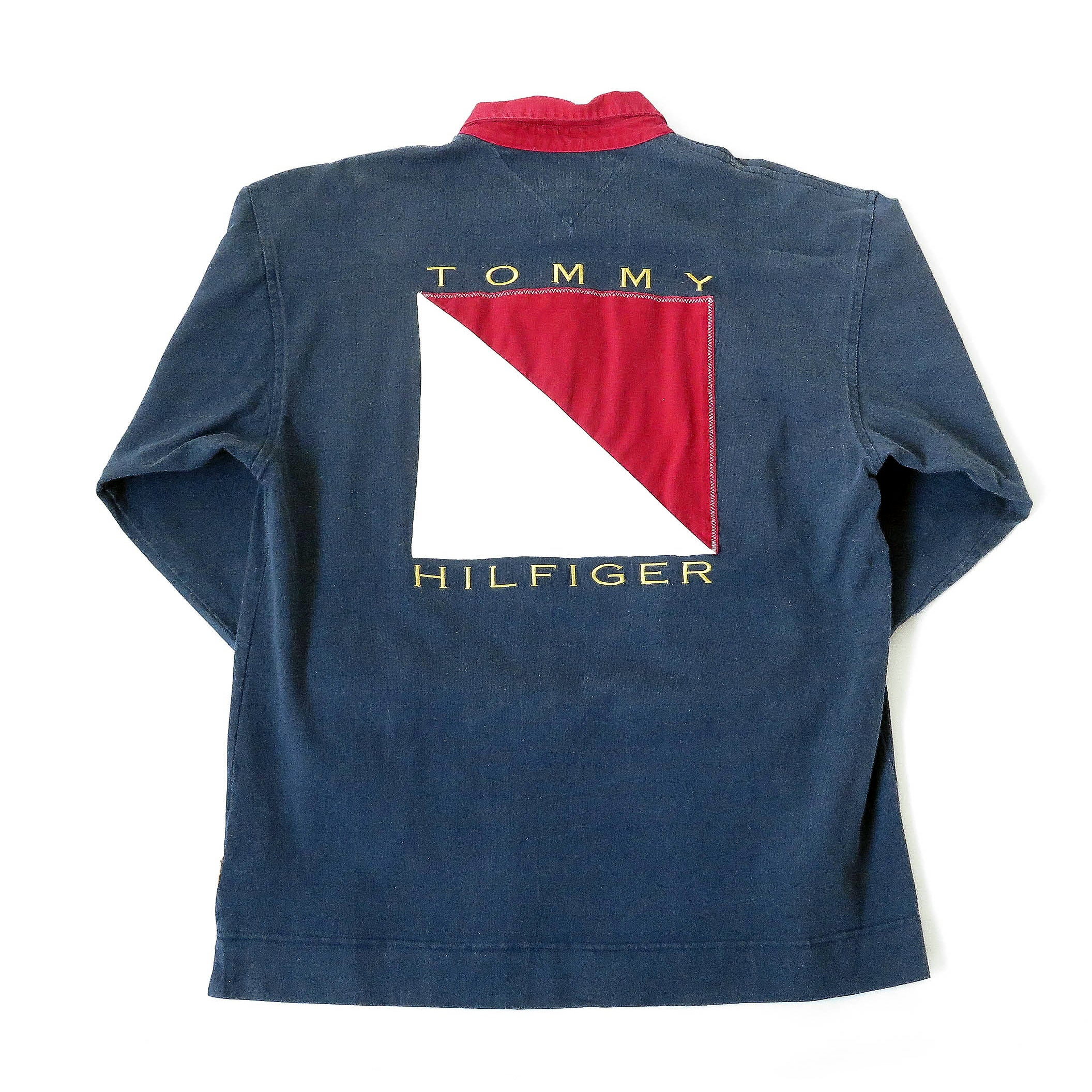 Vintage Tommy Hilfiger Big Logo Long Sleeve Collared Shirt Sz L