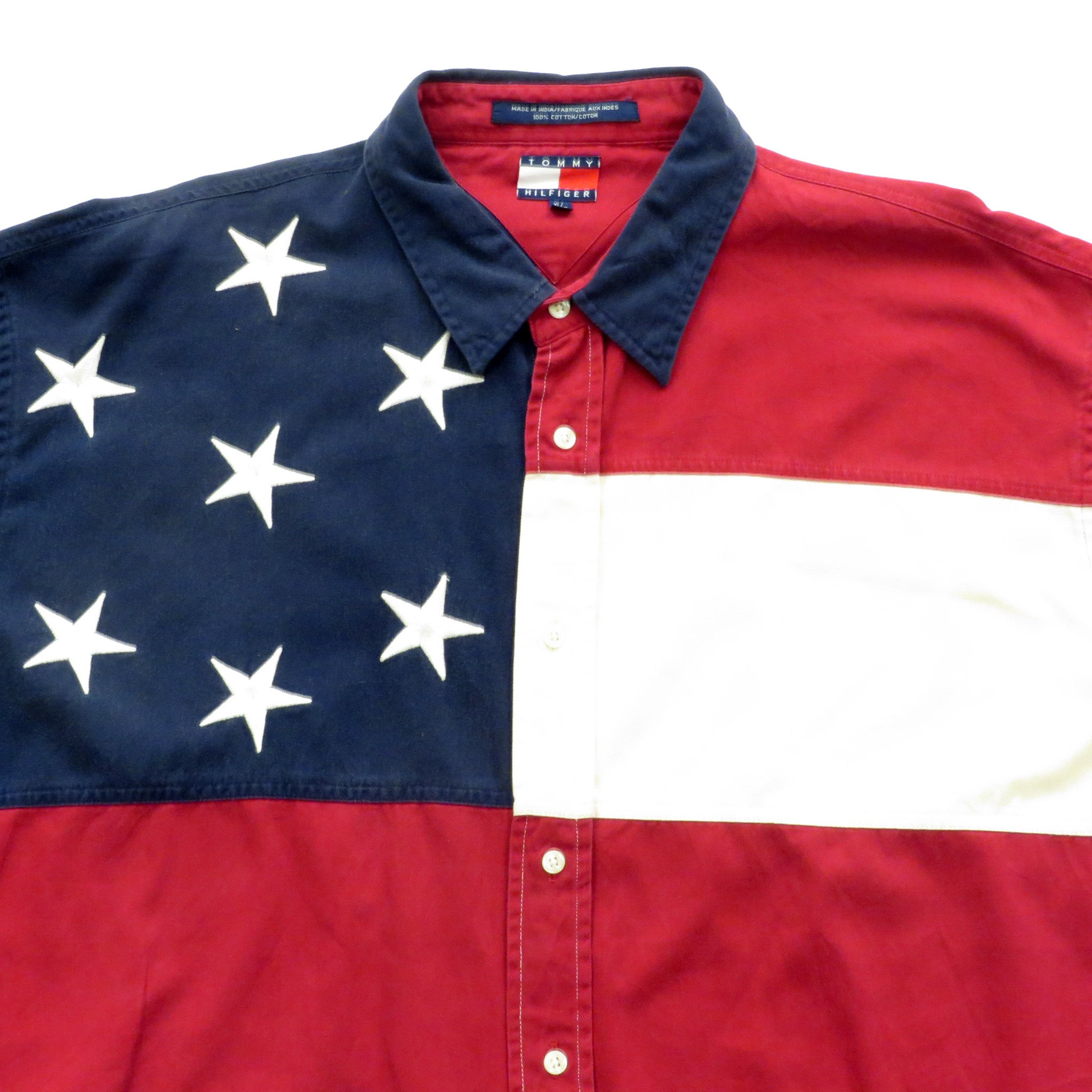 Tommy Hilfiger American Flag Button Down Shirt Sz XL