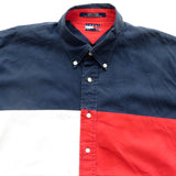 Tommy Hilfiger Tri Color Button Down Shirt Sz XL