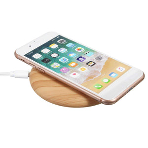 chargeur sans fil qi en bois charge rapide compatible iphone android icharge myaccessoire