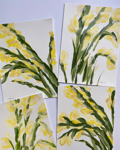 "Yellow Gladiolus, No. 4 - 9x12"" Paper"