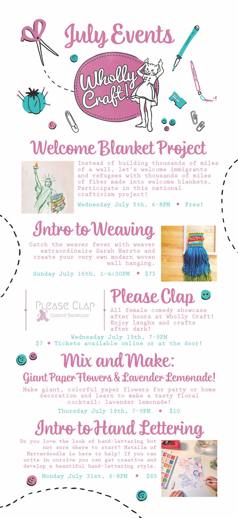 craft workshops weaving workshop hand lettering workshop columbus ohio comedy female comedy giant paper flowers welcome blanket