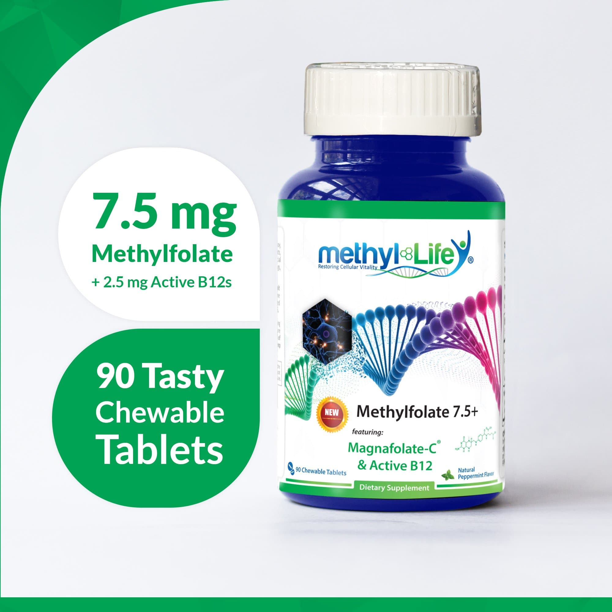Methylfolate 7.5+ - L-Methylfolate + Active B12s - 90 Chewables