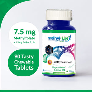 L-Methylfolate 7.5+ - Purest L-Methylfolate + Active B12s - 3 month supply - Chewables