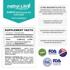 Methylfolate 15 mg - 90 Chewable Tablets