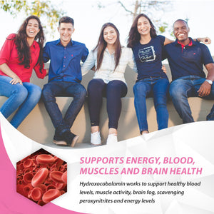 vitamin b12 hydroxocobalamin supports energy, blood, muscles, and brain health