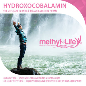 Vitamin B12 - Hydroxocobalamin - the most well-tolerated bioavailable form - 3 month supply - Chewables