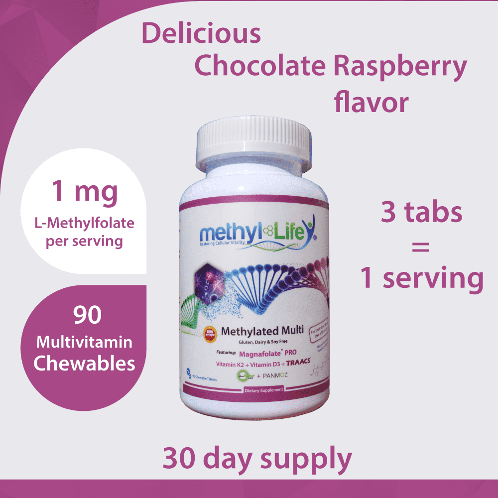 Chewable Methylated Multivitamin - L-Methylfolate 1 mg + Active B12 - Pregnancy/Children - 30 Adult Servings