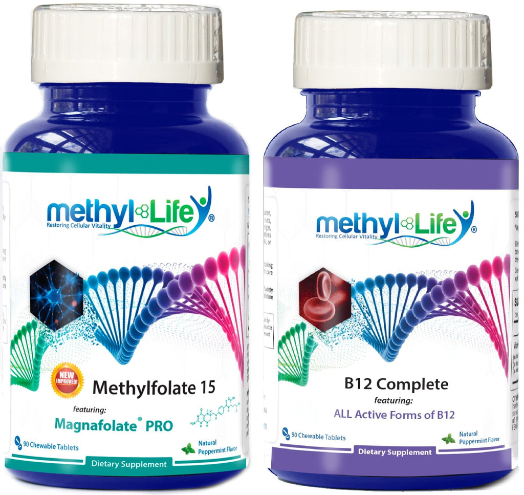 Mood Elevating Bundle - L-Methylfolate 15 mg + 3 Active B12s 5 mg - 3 month supply - Chewables