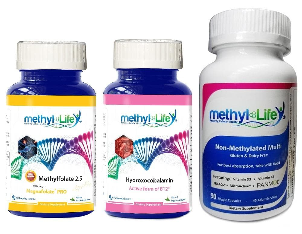 General Health Bundle - L-Methylfolate 2.5 mg + Hydroxocobalamin + Non-Methylated Multi