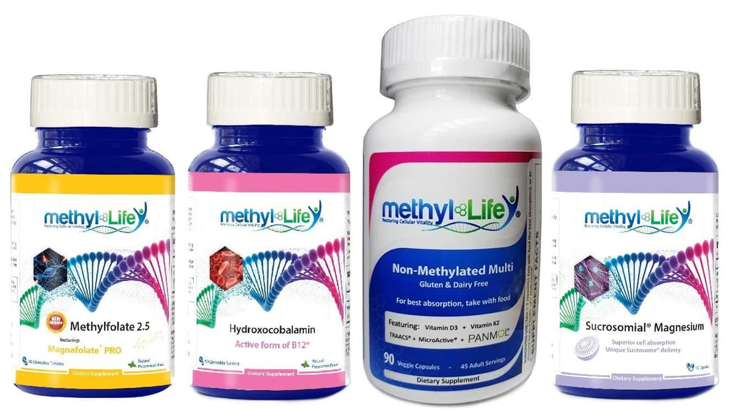 MTHFR Beginner's Bundle - L-Methylfolate 2.5, Active B12, Non-Methylated Multi, Magnesium Caps
