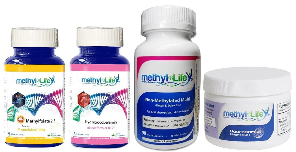 MTHFR Beginner's Bundle - L-Methylfolate 2.5, Hydroxocobalamin, Non-Methylated Multi, Sucrosomial Magnesium® - 90 Chewable Wafers