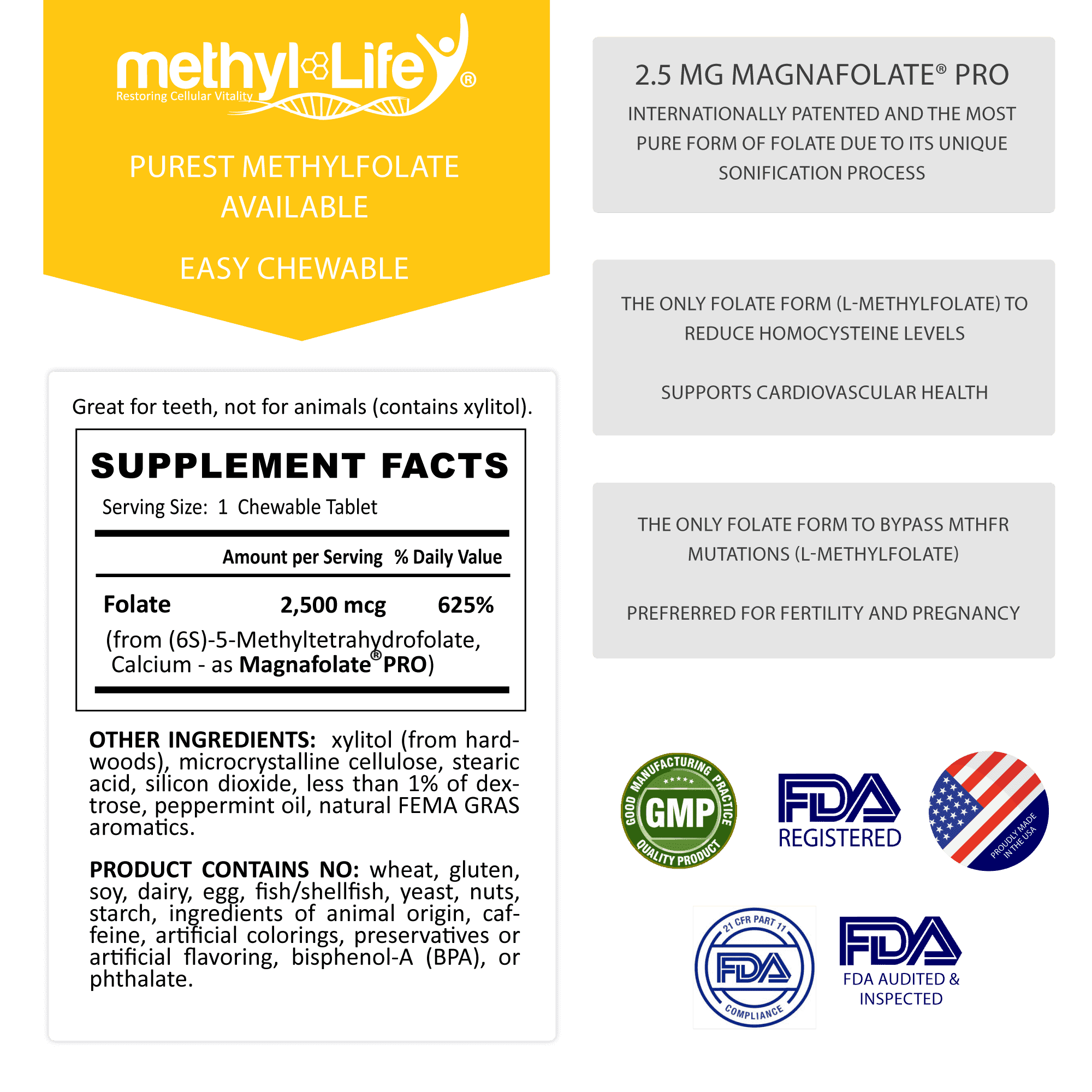 l-methylfolate 2.5 mg supplement facts