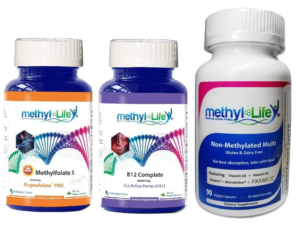 Cognitive Health Bundle - L-Methylfolate 5 mg + Active B12 Complete 5 mg + Non-Methylated Multi