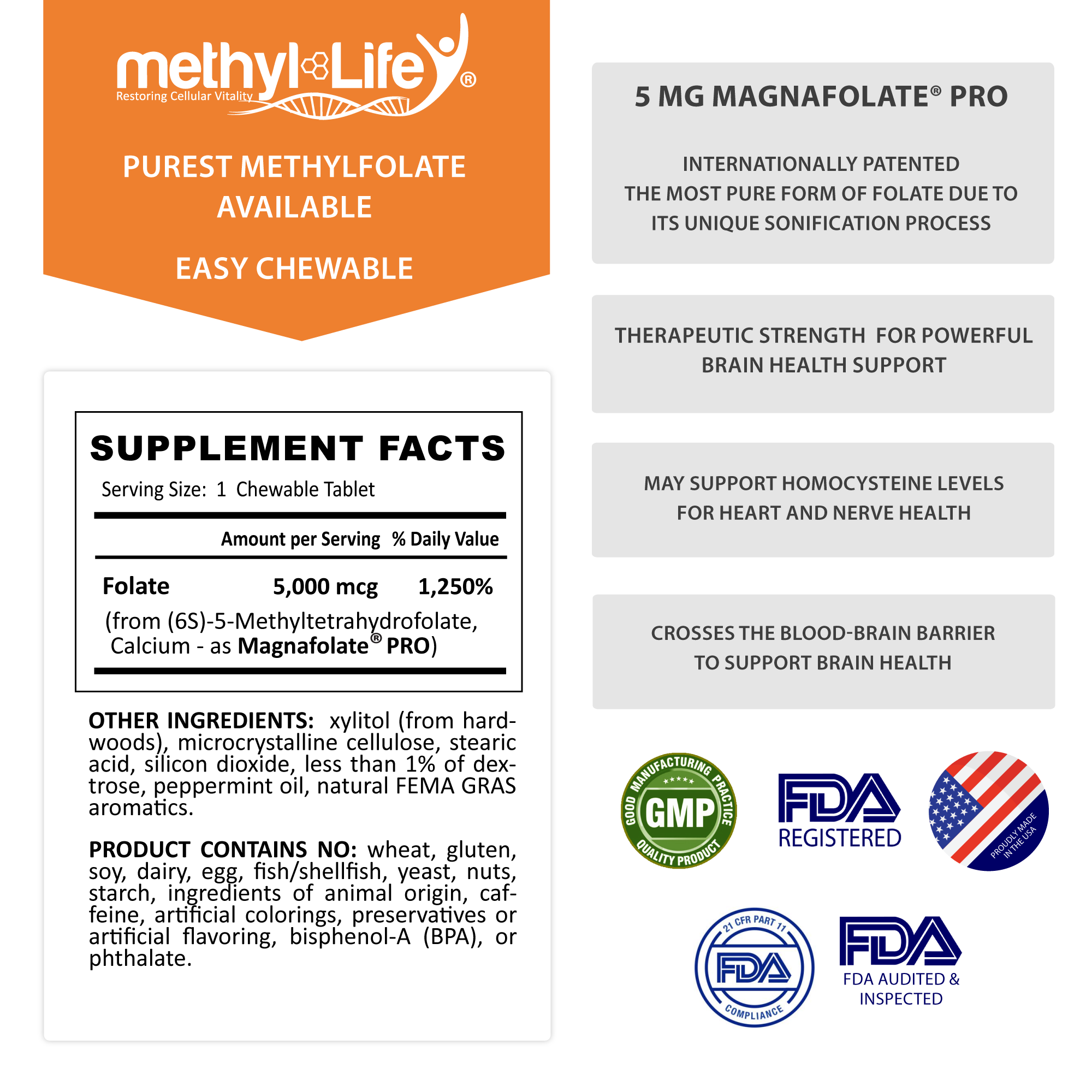 Methylfolate 5 mg - Brain/Mood Health - Purest L-Methylfolate - 3 month supply - Chewables