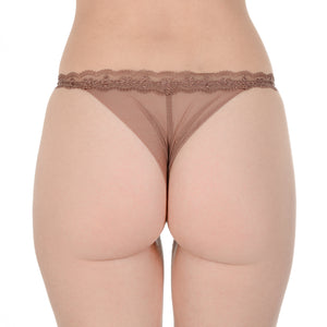 Ladies Brown Stretch Mesh Thong Panty
