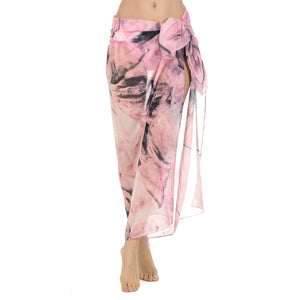 Ladies Pink Printed Gauze Pareo