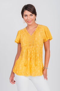 Embroidered  Oil Wash Crochet Neckline Top Yellow