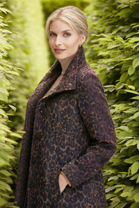 Leopard Print 3/4 Length Wool-Blend Coat - Misses