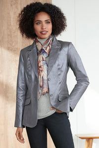 Casual Genuine Leather Blazer - Tall