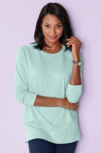 V-Inset French Terry Top by Real Comfort - Misses