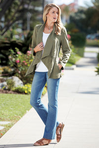 Drape Front Tencel Jacket - Misses