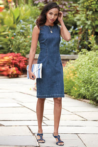 Stretch Denim Sheath Dress - Petite