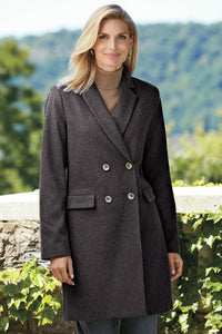 Wool Blend 3/4 Length Coat - Tall