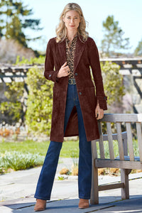 The Newbury 3/4 Length Genuine Suede Coat - Tall