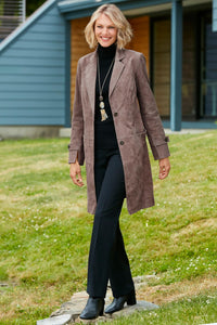 The Newbury 3/4 Length Genuine Suede Coat - Misses