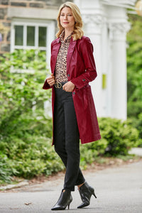 The Newbury 3/4 Length Genuine Leather Coat - Petite