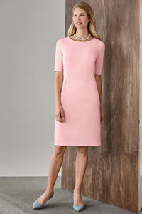 Elbow-Sleeve Crepe Sheath Dress - Misses