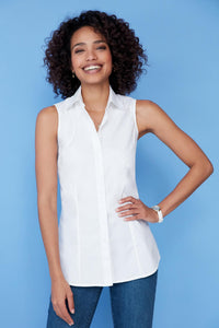 Sleeveless Stretch Poplin Shirt - Misses