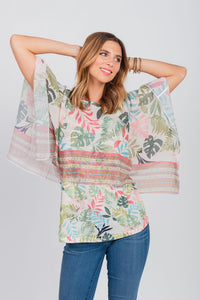 Poncho Overlay and Matching Tank Two-Piece Set Green/Coral