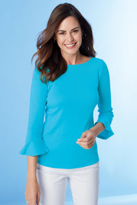 Baby Rib Knit Bell Sleeve Top - Misses