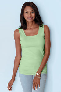 Baby Rib Square Neck Tank - Misses