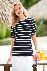 Striped Elbow-Sleeve Ballet Neck Tee - Plus