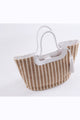 Striped Straw Tote With Tassel Braided Handle - Misses