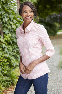 3/4-Sleeve Stretch Poplin Stirpe Shirt - Misses