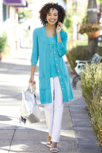Cotton Boyfriend Cardigan Duster - Petite