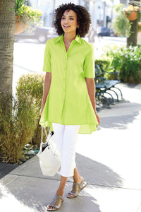 Poplin Elbow Sleeve High-Low Hem Shirt - Petite