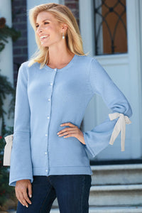 Tie Sleeve Pearl Button Cardigan - Tall