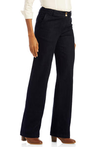 Double-Button Wide Leg Jeans - Tall